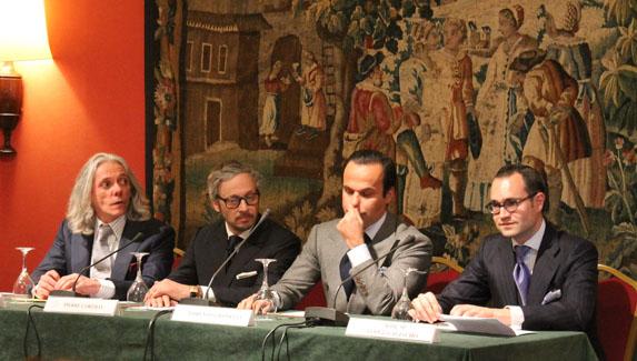 De izq. a dcha.: Hugo jacomet, Pierre Corthay, Lorenzo Cifonelli y José María López-Galiacho, autor del blog El Aristócrata